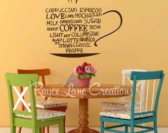 Captivating More Colors. Coffee Word Art Kitchen Wall ...