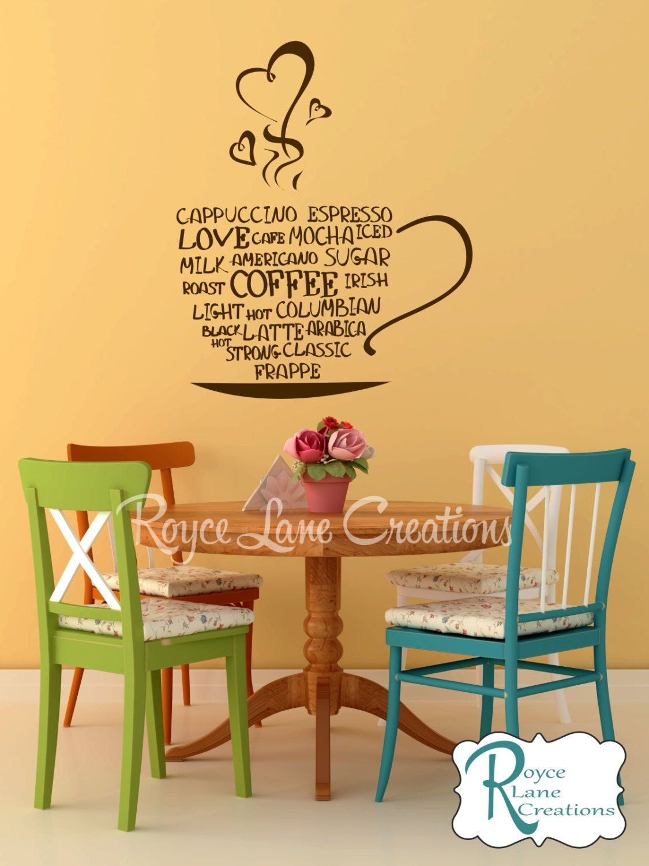 Coffee Word Art Kitchen Wall Decal Coffee Art Coffee Decor