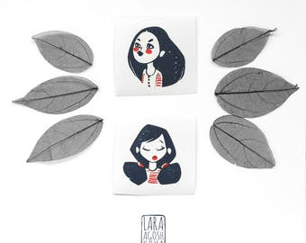 Original linocut stickers pack, cute girls hand stamped stickers in dreamy, minimalist and hygge style