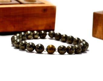 Pyrite bracelet, hematite bracelet, silver bracelet, energy bracelet, man bracelet, yoga bracelet, elastic bracelet, elastic bracelet,