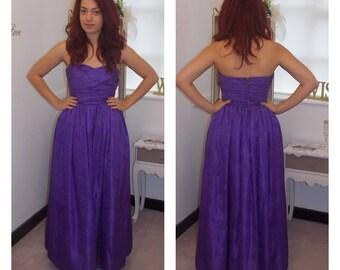 Purple bridesmaid dress, purple prom dress, strapless, purple Ballgown, 1950s Prom dress, Taffeta, Full Length, Prom Dress, UK 8/10 US 6/8