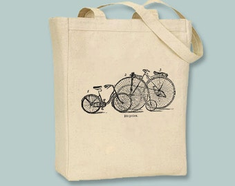 Vintage Bicycles Illustration on Canvas Tote with shoulder strap -- Selection of  sizes available