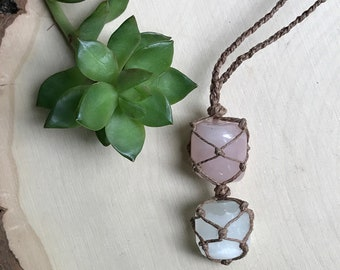 Multi-Crystal Necklace - Rose Quartz Selenite Jewelry - Hemp Wrapped Stone - Macrame Crystal Necklace - Hippie Style Crystal Combo - Love