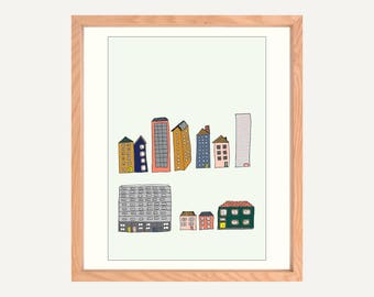 """Buildings A4/8x10"""" Art Print on Canvas Paper. Original illustration. Artwork made in Melbourne. Drawing of houses and buildings."""