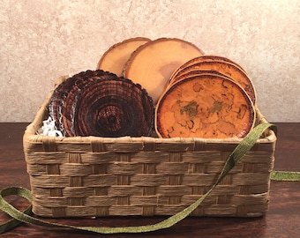 Natural Tree Wood Coaster Assortment Gift Basket