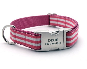 Monarch Stripe Laser Engraved Buckle Personalized Dog Collar - ROSE