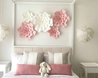 Giant 3D Paper Flower Set, Paper Flower Wall Backdrop, Large Paper Flowers, Nursery Decor
