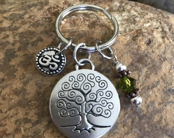 Om Keychain with tree of life and olive green crystal- graduation and or Mothers Day gift