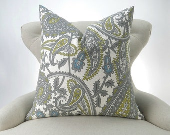 Paisley Throw Pillow, Accent Pillow, Decorative Cushion, Euro Sham, Gray Green & Blue, Boho Decor -MANY SIZES- Boteh Henna Summerland
