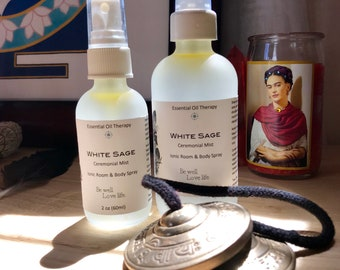 WHITE SAGE spray 4 ounce, smudge, essential oil, for meditation, ritual, ceremony, clearing, purification, shamanic work, Reiki