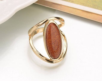 Double Band Goldstone Ring - Gold Plated