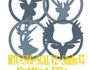 SVG Cut File Deer Gift Tag Set of 4 Christmas Set #03 Cricut Silhouette Cameo SCAL MTC Instant Download Cutting Files