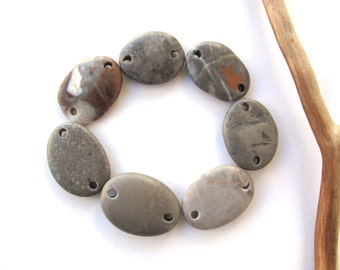 Connectors River Rock Mediterranean Beach Stone Pebble Jewelry Beads River Stone Links GRAY LINKS 20-25 mm