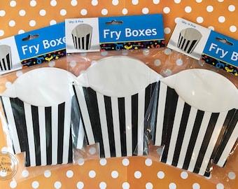 Halloween Treat Boxes / Black stripe Fry Boxes / Birthday Party favors / Party Treats / Treat Box / Candy Box / Holiday Treats