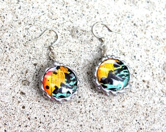 Madagascan Sunset Moth Round Drop Domed Earrings