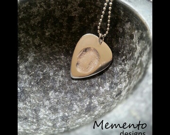Silver Guitar Pick Fingerprint Pendant Jewellery Keepsake