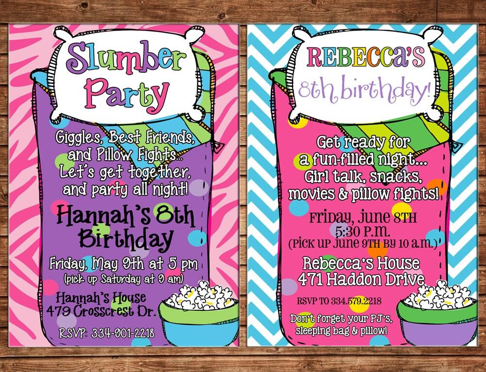 Girl Invitation Sleeping Bag Slumber Sleepover Birthday Party