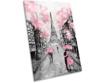 Floral Pink Eiffel Tower Paris Framed CANVAS PRINT Portrait Wall Art