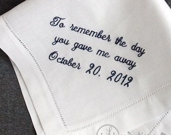 Father of the Bride Handkerchief Personalized Hankerchief |  Dad Wedding Handkerchief | Father of the Bride Gift HM403
