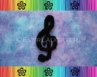 CROCHET PATTERN - Treble Clef Musical Note Applique - Detailed Photos