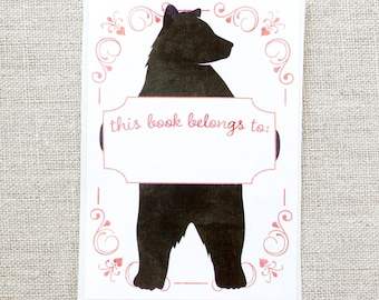 kids bookplates - bear book plates - bookplate stickers - baby shower gift - personalized gift under 20 - custom bookplate - bookworm gift