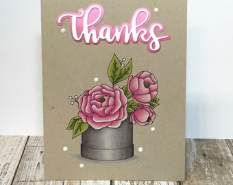 Thanks - Handstamped and painted Greeting Card