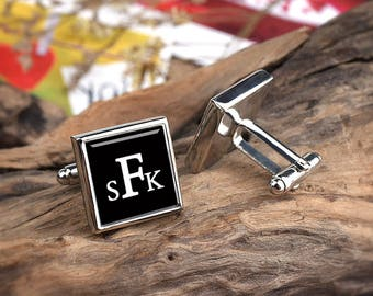 Initial Cufflinks Wedding Cufflinks, Cufflinks For Groom Fathers of the Bride/Groom Initial Groomsman Gift monogrammed S k f