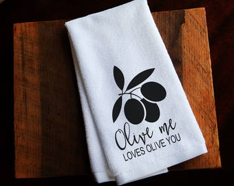 Valentine kitchen towels funny kitchen towels  Olive me loves olive you housewarming gifts shower gift gift for her hand towel