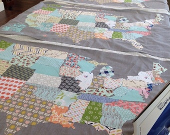 Patchwork USA Map Wall Quilt