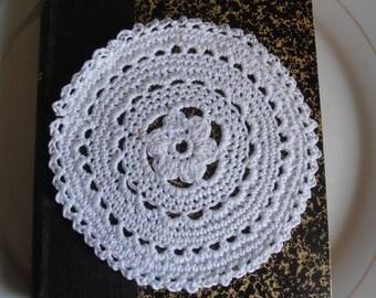 12 white cotton coasters