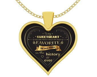 Girlfriend Jewelry - To My Sweetheart - Gold Heart Necklace - Wife Pendant