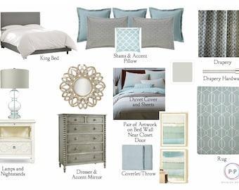 Bedroom Package: Online Interior Design Service, E Design Services,  Moodboard, Interior