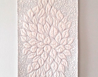 Calla Lily Quilted Table Runner or  Wall Hanging.   Contemporary Fiber Art.