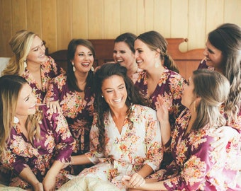 Eggplant Bridesmaids Robes Sets | Kimono Robes. Bridesmaids gifts. Getting ready robes. Bridal Party Robes. Floral Robes. Dressing Gown