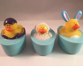 Easter Duck Soaps / Rubber Duck Soaps / Bar Size Soap / Kid Soap / 4 oz Total / Party Favor / Shower Favor / Easter Basket Gift