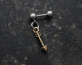 Antiqued Brass Arrow - 18g , 16g , 14g (1mm , 1.2mm , 1.6mm) Cartilage Ear Stud Barbell Piercing Jewelry