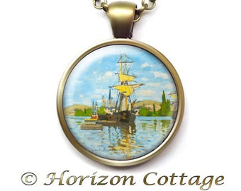Monet Necklace, Claude Monet's Ships Riding on the Seine at Rouen, Old Masters' Classic Art Pendant, Monet Jewelry, Your Choice of Finish