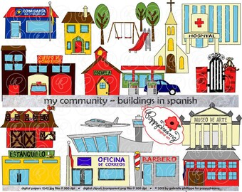 My Community Buildings in SPANISH Clipart: (300 dpi transparent png) Teacher Clip Art Creative Writing Police Fire Station School Grocery