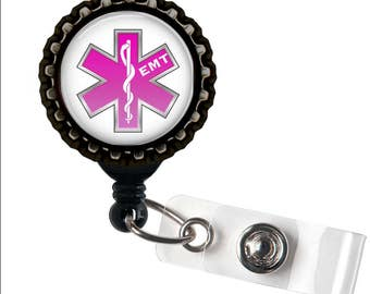 EMT LOVE - Pink - Black Retractable Badge Reel ID Holder