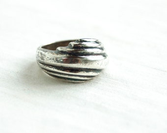 Heavy Sterling Silver Ring Band Size 6 Vintage Mexican Abstract Jewelry Draped Wrap Wide Ring Hecho en Mexico