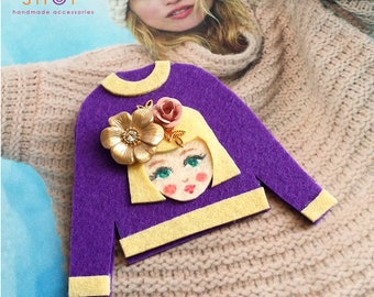 Felt art brooch, Girl brooch,Face brooch, Flower girl face pins, tshirt pins,Girl face sweater,cute girl face pins,Purple sweater, Felt pins