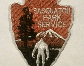 """Sasquatch Park Service, Bigfoot Embroidered Patch Applique Embellishment Iron on & Sew on 2.5"""" h"""