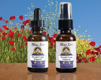 Weight Loss Support Flower Essence Dropper or Spray for Losing Weight, Organic, Reiki-Infused North American, Bach Flowers