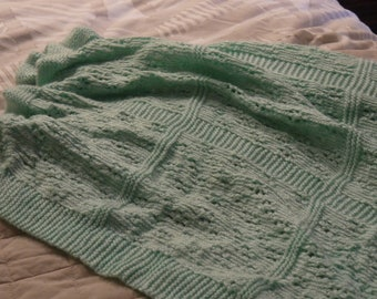 Minty Green Hand Knitted Baby Blanket