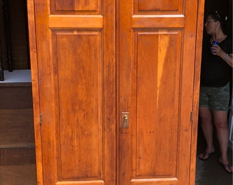 Antique 1800's Wardrobe Cabinet solid mixed wood 2 door 84hx36wx19d Shipping is not free