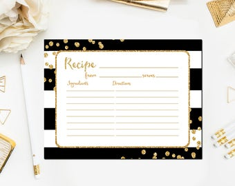 Bridal Shower Recipe Cards Black and Gold, Printable Black and Gold Bridal Shower Recipe Card, Gold Glitter, Instant Download BR45