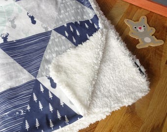 Baby blanket in cotton and faux fur Shearling