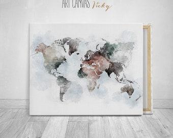 World map wall art canvas print, ArtCanvasVicky