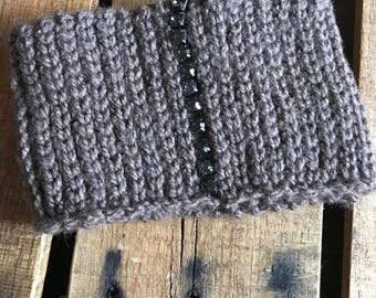 Grey Hand Beaded Headband