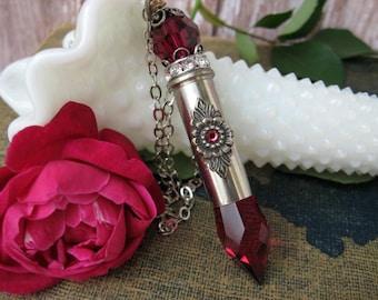 Ruby Bullet Necklace, Bullet Pendant, B73